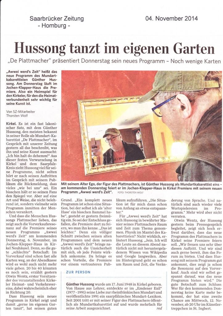 """Vorbericht zur Premiere meines Programms """"Awwei werd's Zeit"""" in  der SZ. Herzlichen Dank an den Redakteur Thorsten Wolf"""